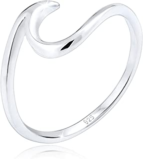 Elli Women's 925 Sterling Silver Wave Statement Blogger Trend Ring for Women's