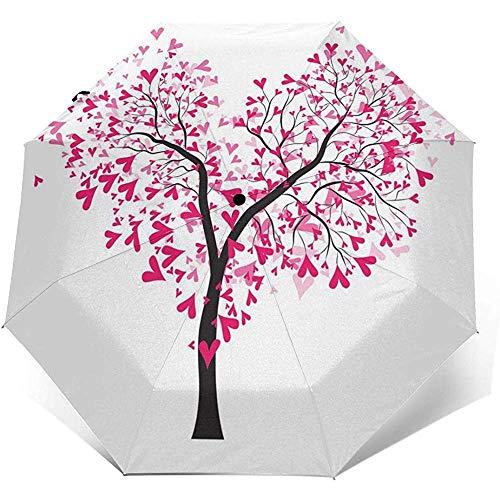 EW-OL-Automatic tri-fold umbrella Der Baum des Lebens Herz-Reise-Mini-Regenschirm Winddichter UV-Taschenschirm 8 Rippen