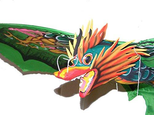 Grande tradicional hecha a mano verde Bali Dragón cometa–envergadura 118cm, longitud 218cm–comercio justo