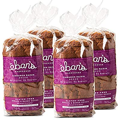 Eban's Bakehouse Fresh Baked Gluten-Free Bread - 4 Loaves - 100% Natural - Soy, Wheat and Dairy Free, Preservative Free, Non-GMO