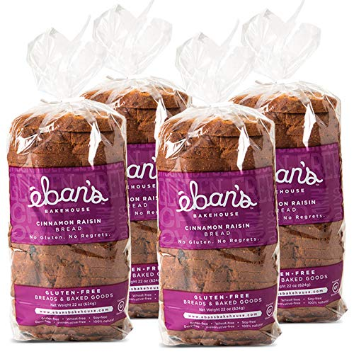 Eban's Bakehouse Fresh Baked Gluten-Free Cinnamon Raisin Bread - 4 Loaves - 100% Natural - Soy, Wheat and Dairy Free, Preservative Free, Non-GMO (22oz, 624g Each)