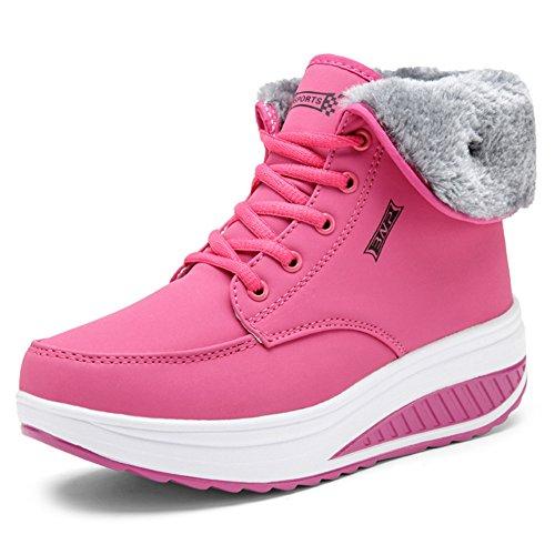 SAGUARO® Invierno Mujer Botas de Nieve Cuero Calientes Fur Botines Plataforma Bota Boots Ocasional Impermeable Anti Deslizante Zapatos, Rosa 36