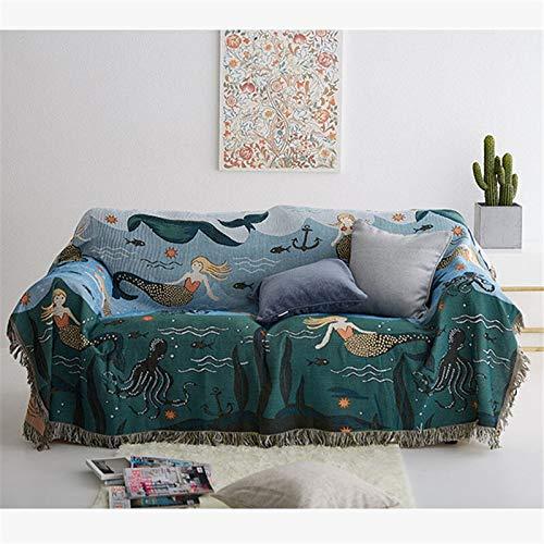 Decoración del hogar Nordic manta del tiro manta del sofá de la sirena Recorrido del aeroplano for la cama de la sala de la tapicería de alfombras sofá de la manta cubierta Colcha Decoración de pared