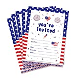 CC HOME Patriotic Party Invitations,Summer BBQ Cookout Invitations With Envelopes (20 Count) for Patriotic Day,Military Graduation Pool Family Reunion Invite, Picnic Cookout Invites ,Baby Shower ,Birthday Party Decorations