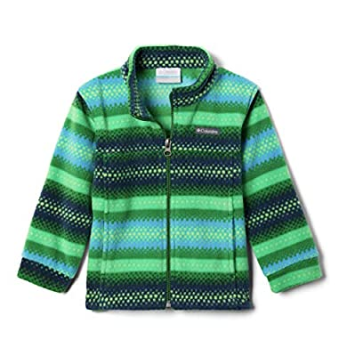 Columbia Boys' Toddler Zing III Fleece Jacket, True Green Bubble Stripe, 4T