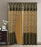 Fancy Collection Embroidery Curtain Set 2 Panel Drapes with Backing & Valance (Sage Green, 110'x 84')