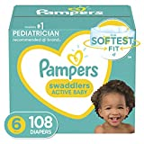 Baby Diapers Size 6, 108 Count - Pampers Swaddlers, ONE MONTH SUPPLY (Packaging and Prints on...