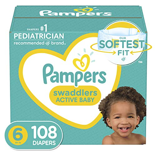 Pampers Swaddlers Disposable Diapers Size 6, 108 Count, ONE MONTH SUPPLY (Packaging...