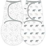 Amazing Baby von SwaddleDesigns, Set mit 2 größenverstellbaren Puckdecken, Elefanten und Konfetti, Silver, Klein, 0-3 Monate