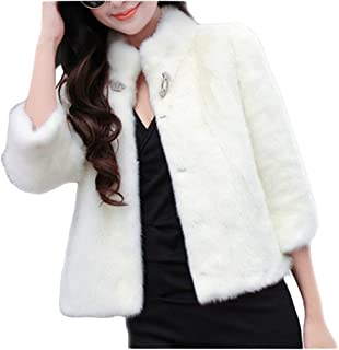 Women's Faux Fur Short Jacket Thick Long Sleeve Luxury Chunky Peacoat for Work Daily