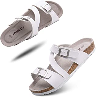 Mens Womens Sandals Open Toe Flat Footbed Slides Mules Ladies Flip Flops Comfy Cork Sandal Buckle Summer Holiday Slippers ...