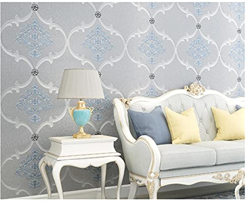 Papel tapiz 9.5M Patrón de flocado Damasco gris Papel pintado minimalista no tejido para Dormitorio Sala de estar Papel tapiz Telón de fondo de TV Decoración de paredes