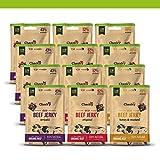 Cherky Eco Beef Jerky Selección. Snack saludable orgánico de ternera premium sin aditivos y sin azúcar. 12ux30g