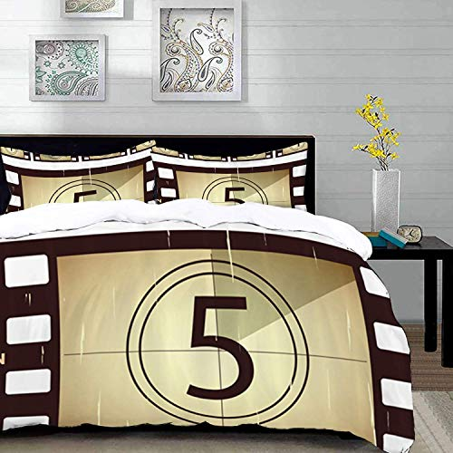 bedding - Duvet Cover Set, Movie Theater,Scratched Film Strips Vintage Movie Frame Pattern Grunge Illustration,Cream Lilac,Microfibre Duvet Cover Set with 2 Pillowcase 50 X 75cm