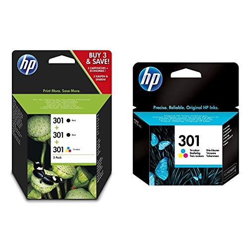 HP 301 E5Y87EE, Pack de 3, Cartuchos de Tinta Originales, 2 Negro + 1 Tricolor, Compatible con impresoras de inyección de Tinta DeskJet + 301 CH562EE, Tricolor, Cartucho de Tinta Original