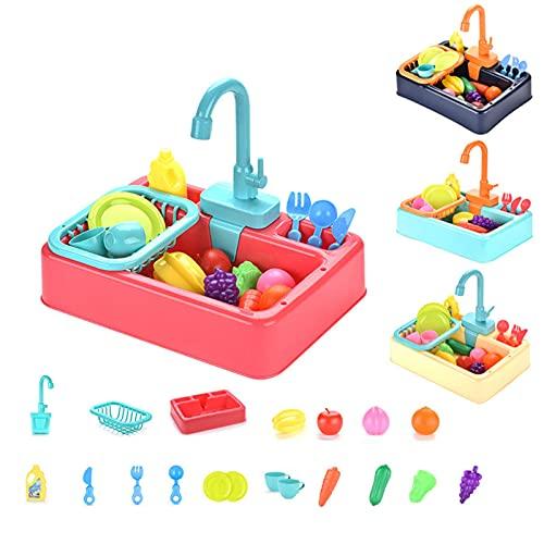 xiaox5 Juguetes para fregadero de cocina, juego de cocina para niños de 19 piezas con agua corriente, lavavajillas de simulación, cocinas de juego de simulación, regalos educativos para niños y niñas