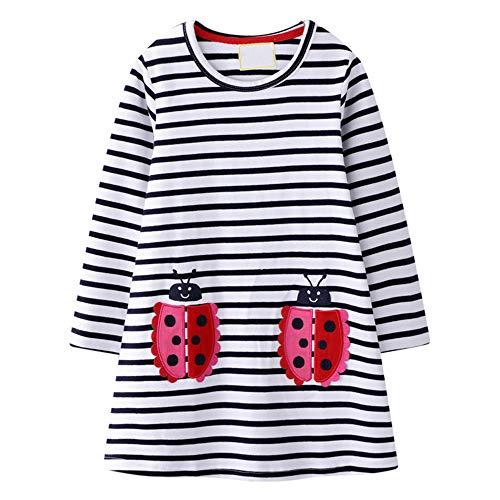 VIKITA Mädchen Kleider Streifen Langarm Baumwolle Herbst Winter T-Shirt Kleid JM7002 5T