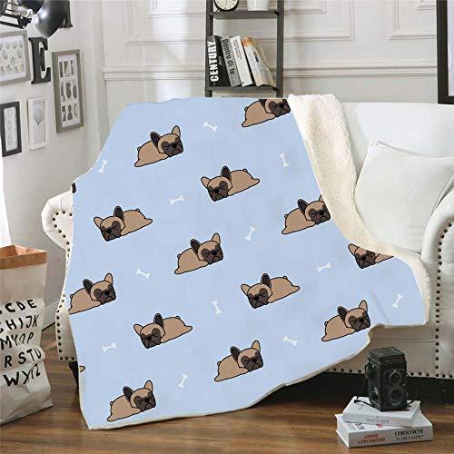 Manta Estampada Perro Animal marrón Claro Azul Terciopelo de Cristal Lateral A, Terciopelo de Lana Blanca Lado B (130 x 150 cm) para Sala de Estar, hogar,