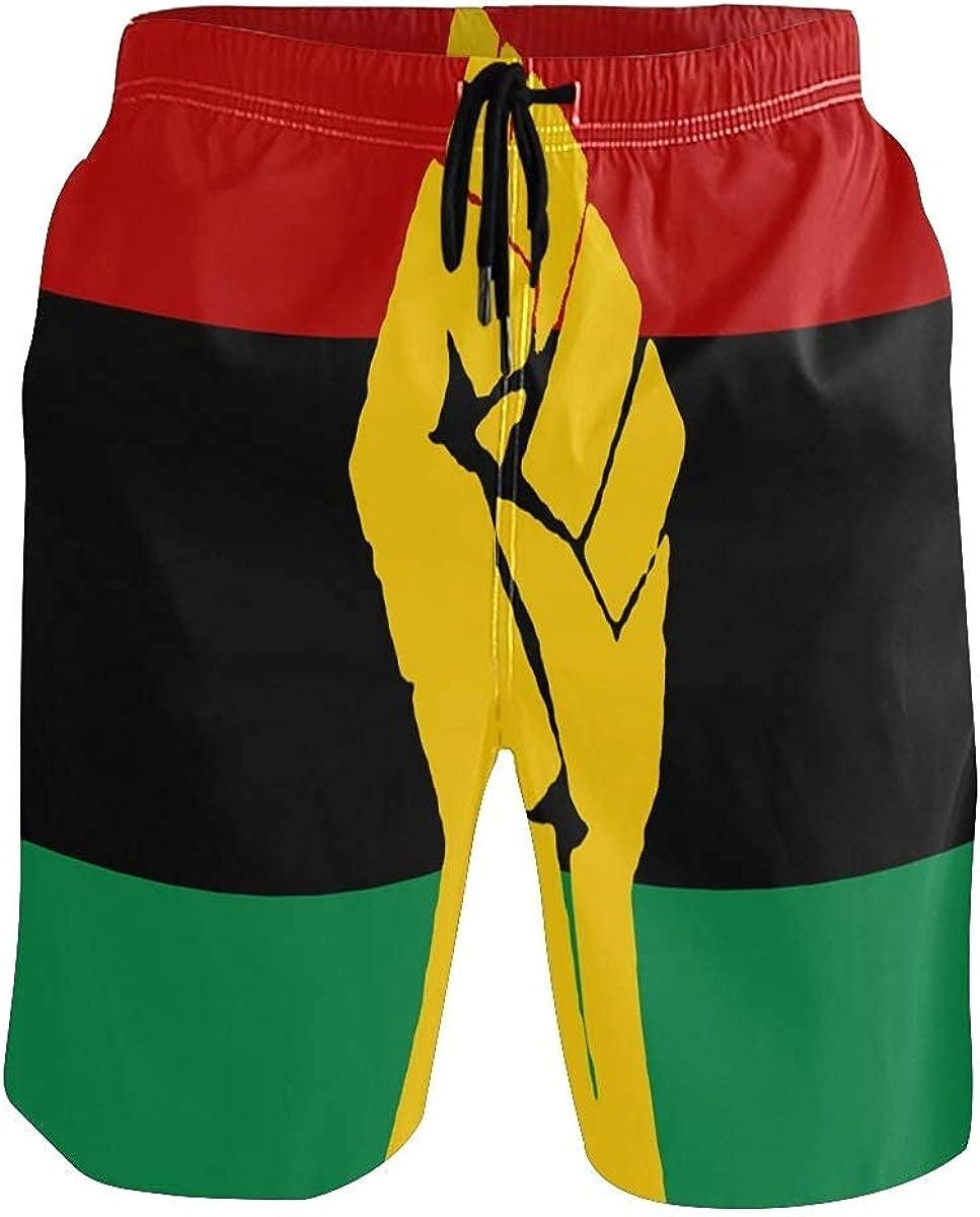 coseevel Men's Swim Trunks Board Shorts Beach Swimwear Black Power Pan African Flag Bath Suit