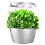 Smart Garden, Hydroponics Growing System with LED Grow Light, Indoor Herb Garden Starter Kit for Beginners, Easy to Use, Silver, 4 Pots