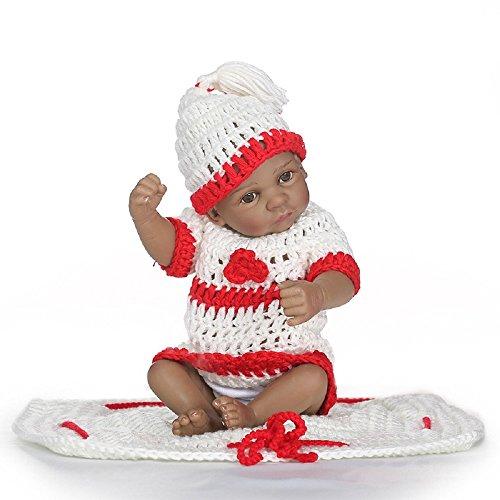 Nicery B41 - Muñeca de bebé de silicona dura de simulación de 10 pulgadas de 24 a 26 cm, ideal para regalo de baño, con traje para Acción de Gracias gxi26-18