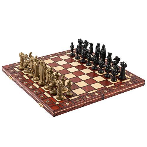 Master of Chess Ancient Armies Juego de ajedrez Black & Gold Edition Tablero de ajedrez de Madera de 41 cm / 16 '/ Piezas de plástico para Adultos y niños (Medieval)