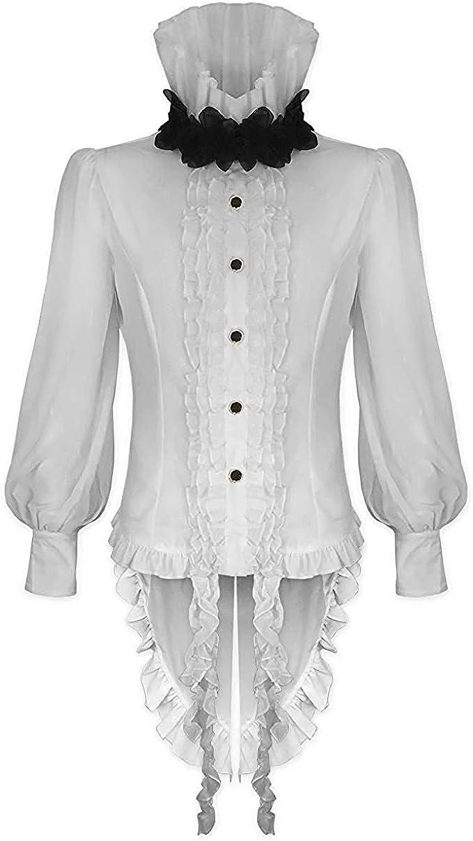 Devil Fashion Hombre Vampiro Gótico Camisa Top Blanco Steampunk Vintage Victoriano Rosa