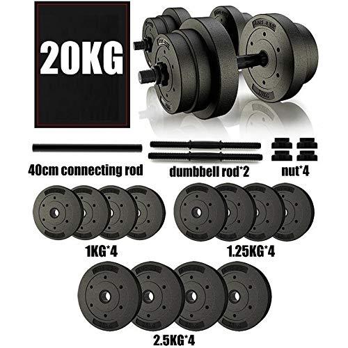 Mancuerna Mancuernas Dumbbell Dumbbells 20 kg de fitness con mancuernas Set ajustable pesas de peso Conjunto de entrenamiento de cuerpo Gimnasio en casa 44lb Mancuerna Mancuernas Dumbbell Dumbbells