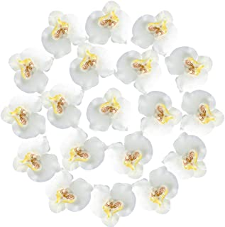 XYXCMOR Silk Orchids Heads 20pcs Fake Faux Orchid Phalaenopsis Artificial Flowers for Wedding Centerpieces Decorations Party Bridal Bouquets White