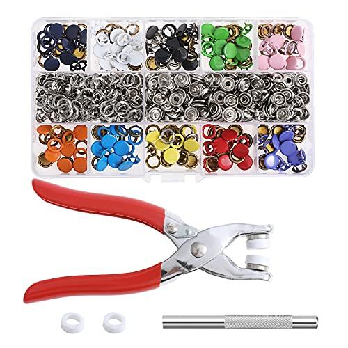 VEVEKY Ösen Druckknöpfe Kit, 200 Sets Zinke Schnalle Druckknöpfe Metallverschluss Für Leder, Leinwand, Kleidung, Taschen, mit Montagewerkzeugen und Zangen