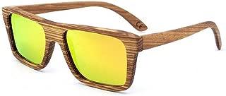 Handmade Classic Full Frame Zebra Wood Sunglasses Colored Lens UV400 Protection for Unisex-Adult Eyeglasses (Color : Orange)