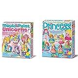 4M Moldea Y Pinta Unicornios, Multicolor (404708) + Mould & Paint Glitter Princess (003528)