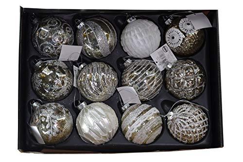 Set di 12 palline di Natale in vetro di lusso, Ø 6 cm, palline per albero di Natale, decorazioni per albero di Natale (assortimento B)