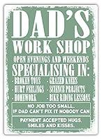 Dad's Workshop Fathers Day Gift 注意看板メタル安全標識注意マー表示パネル金属板のブリキ看板情報サイントイレ公共場所駐車ペット誕生日新年クリスマスパーティーギフト