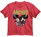Disney Little Boys' Mickey Mouse Rocks Out Graphic Tee T-Shirt (Red Heather, 5/6)