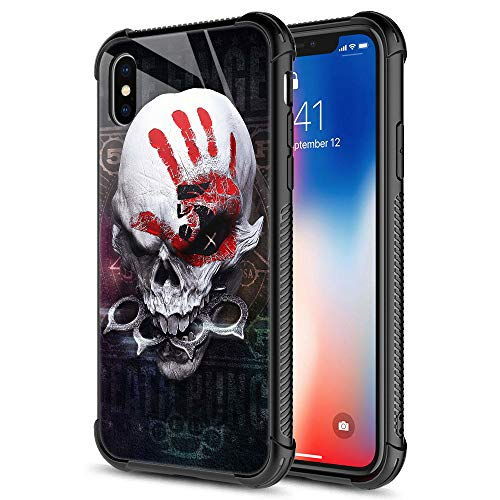 CARLOCA iPhone XR Case,iPhone XR Cases for Men Boys, Red Palm and Skull Pattern Design Shockproof Anti-Scratch Case for Apple iPhone XR 6.1 inch Red Palm and Skull