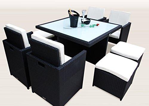 Ragnarök-Möbeldesign PolyRattan - DEUTSCHE Marke - EIGNENE Produktion - 8 Jahre GARANTIE auf UV-Beständigkeit Gartenmöbel Essgruppe Tisch + 4 Stühle & 4 Hocker 12 Polster Schwarz