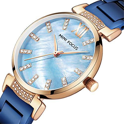 Mini Focus Reloj Mujer, Reloj de Pulsera de Cuarzo con Diamantes de imitación Impermeable de Acero Inoxidable Reloj de Pulsera analógico Simple para Mujer con Caja para Regalos para niñas (Blue)