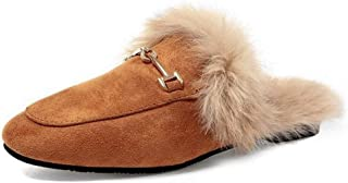 Women's Slip-On Loafers Square Toe Buckle Fur Lined Flat Shoes Outdoor Mule Slippers