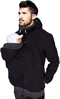 Men's Maternity Coat Baby Carrier Jacket Kangaroo Outwear for Dad and Newborn - Black