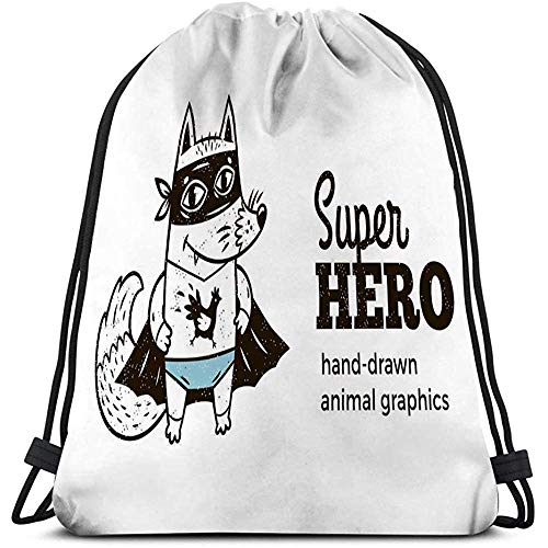 Dingjiakemao Lichtgewicht Gym Tas, Trekkoord Rugzak Tas, Gym Zak, Voor Meisjes Of Mannen Winkelen, Sport, Gym,Yoga,School Super Fox Kostuum Karakter Witte Superheld Animal Kids Cartoon Kleine Superhelden