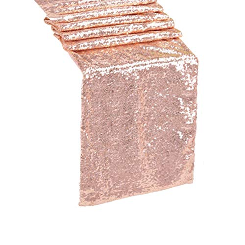 """QueenDream 14""""x80""""Rose gold Sequin Table runner For Wedding Party Christmas Home Table Decoration"""