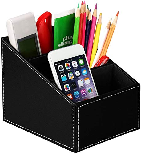Organizador de Escritorio - Portalápices para Escritorio Caja de Almacenamiento de Cuero Multifuncional con 3 Compartimentos ideal para Control Remoto de Papelería de Teléfono Móvil (Negro)