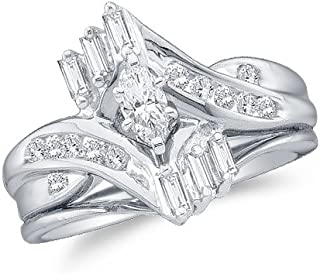 10K White Gold Marquise, Round & Baguette Diamond Bridal Engagement Ring & Matching Wedding Band Two Piece Set - Prong Set Solitaire Center Setting Shape with Channel Set Side Stones - Curved Notched Band (1/2 cttw.)