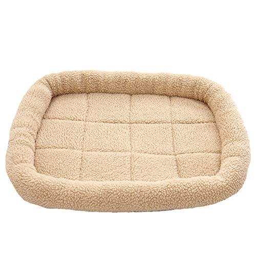 DIKOPRO Pet Cat Beds Cat Caves & Houses Dog Houses Autumn and Winter New Pet Dog Kennel Winter Dog Mat Small and Medium Dog Warm Lamb Cashmere Cat Litter Cat Warm Cushion(Cream Color,L)