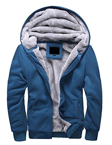 Minetom Herren Winter Warm Vlies Gefüttert Kapuzenpullover Baumwolle Mäntel Weich Jacken Sweatshirts Mit Kapuze Outwear (EU XS, Blau)