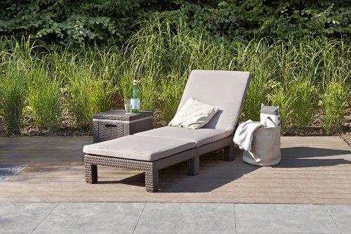 Koll-Living Gartenliege/Sonnenliege Sunlocker in braun, inkl. passender Auflage, aus Kunststoff in Rattanoptik, witterungsbeständig und langlebig, 4-Fach verstellbare Rückenlehne