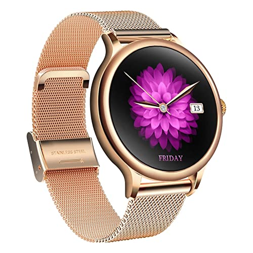 XYZK G10 Smart Watch Mujer con presión arterial/oxígeno en la sangre/monitoreo de la frecuencia cardíaca Fitness Tracker Cronómetro paso calorías impermeable reloj deportivo (F)