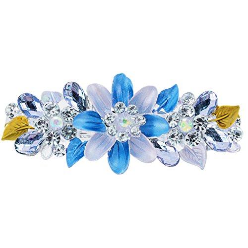 Strass Blumen Haarspange Haarklammer Haarclip Haarklemme Haarspangen - blau