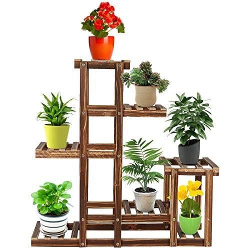 Scala per fiori a 5 livelli, supporto per piante, in legno, scaffale per fiori, scaffale per fiori,...